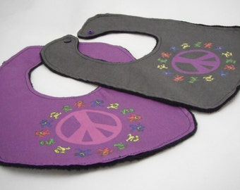 Peace Sign Baby Bib with Grateful Dead Dancing Bears