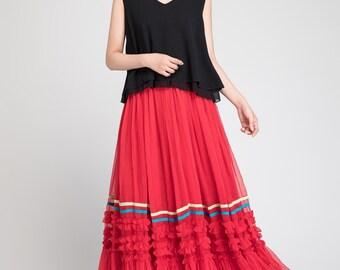 chiffon skirt maxi, maxi skirt woman, red tulle skirt, wedding skirt, summer skirt red, romantic skirt, long skirt, elastic waist skirt 1887
