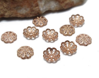 Rose Gold Filigree Caps for Jewelry Beading 8mm 10pcs