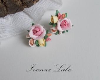 pink rose earrings, wild flowers, cute earrings, stylish earrings, handmade, gift earrings