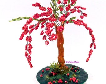 Red Beaded Wire Tree | Beaded Bonsai Tree | Wire Tree Sculpture