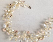 Rose Gold Crystal and Pearl Wired Swarovski Bridal Halo- Custom Colors