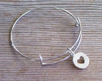 Silver Heart Bangle Bracelet, Silver Heart Bracelet, Silver Bangle Bracelet, Heart Charm Bracelet, Layering Bracelet, Gift for Her