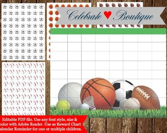 Sport Reward Chart Game Editable Schedule Chart Appointment Printable Planner Stickers Erin Condren Planner Stickers Sport Printable Sticker