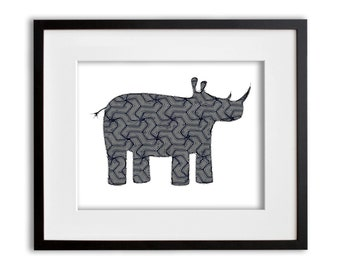 Gray and Navy Rhino Print 8x10 or 11x14 with Matte Options