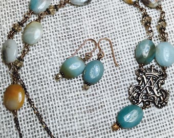 SALE:  Ave Maria Bronze Necklace & Earring Set, Miraculous Medal Earrings, Amazonite, Wire Wrapped, Catholic