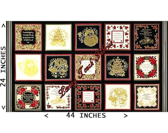 "15 Uncut Blocks  (7"" Blocks) - Benartex ""Season's Greetings"" Metallic Christmas Cards #3542M Metallic Cotton Fabric Panel 24"" x 44"""