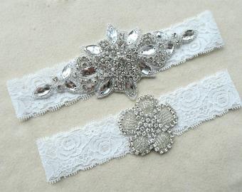 Wedding garter,Vintage lace,Bridal garter sets, White lace garters, Garter Set ,with Pearl&Rhinestones,lace garter  ,WD30