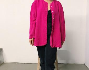 vintage 80s hot pink silk blouse // large