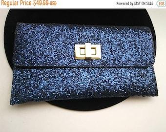 ON SALE Vintage Blue Purse Sparkly Glitter 1960''s Collectible Clutch Mad Men Mod Hollywood Regency Mid Century Handbag