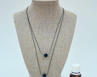 Two Tier Essential Oil Diffuser Necklace / Lava Stone Diffuser Necklace / Vitality Essential Oil Necklace