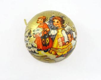 Vintage Christmas Ornament Candy Container Angels West Germany Gold Red