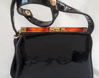 Vintage ELKA Brand Patent Leather Handbag with Adjustable Strap