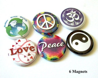 Peace Love Om Yin Yang fridge MAGNETS 1 inch peace love hippie hippy yin yang magnet party favors office gift stocking stuffers flair