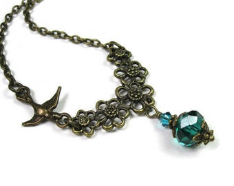 Teal Green Swarovski Crystal Czech Glass Antiqued Brass Vintage Style Necklace, Womens Accessories, Birthday Gifts for Her, jewelrybyNaLa