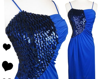 Vintage 70s Dress / Vintage 80s Dress / Blue Sequin Dress / 80s Sequin Dress / 70s 80s Disco Dress / S M Small Medium Draped Cocktail Party