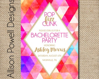 Watercolor Fun Bachelorette Party Girls Night Out Party Invitation, 40th Birthday Invitation - Pop Fizz Clink