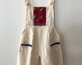 Kids Guatemalan Cotton Overalls * Girls Boys Overalls * Vintage Kids Jumper Size 12 - 24 Months