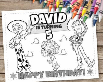 Toy Story Birthday Coloring Pages, 6 Toy Story Printable Coloring Pages, Woody Birthday Activities, Buzz Lightyear Jessie Coloring