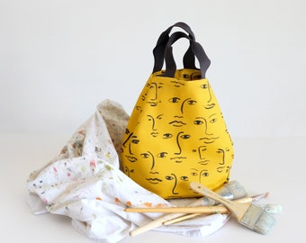 Sunflower yellow weekend box tote with original face motif,casual everyday handbag, gifts for creatives, top handled day bag, sunny mustard
