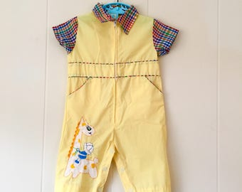1950's yellow zip-up giraffe jumpsuit with plaid accents - size 0 / 3 months