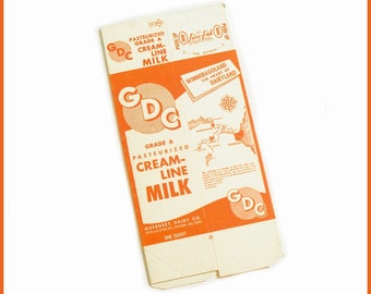 New 1950s Quart Carton GDC Cream Line Milk