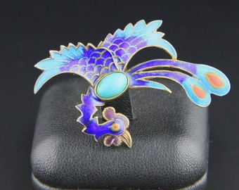 Vintage Chinese Enamel Turquoise Brooch, Phoenix, Chinese Export, Gold Wash Over Sterling Silver, Chinese Pin, Antique Chinese Brooch, Gilt
