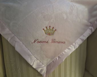 Personalized Baby Blanket-Satin edge-soft fleece in blue-pink-cream