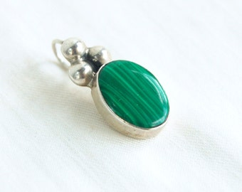 Malachite Pendant Vintage Mexican Sterling Silver Oval Drop Finding Green Stone Southwestern Jewelry