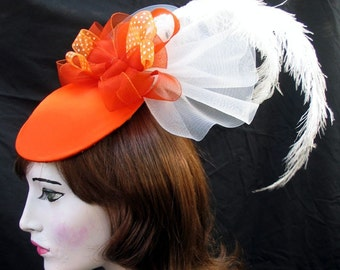 Extra Fancy Persimmon Orange Coctail Hat with Feathers and Horsehair Ribbon Custom Order
