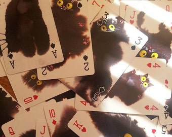 Ink Spot Cats - playing cards- fully customised card deck featuring 54 individual and cute cats!