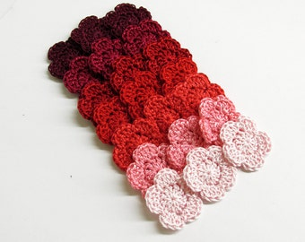 "Crocheted 1"" flowers, 21 pc. red pink mix, handmade tiny appliques"