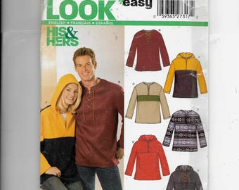 New Look Misses' And Men's Hooded Pullover Top Pattern 6328