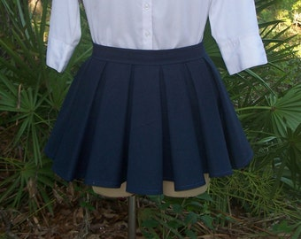 Box Pleat Mini Skirt - Any Color or Size - Large Full Pleats - Anime Cosplay - Japanese School Uniform Pleated Skirt - Custom Made