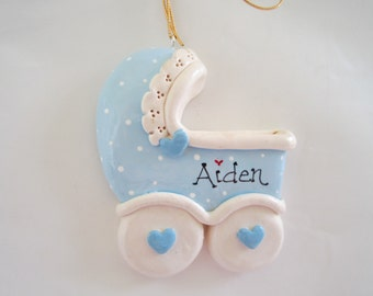 Personalized Blue Baby Carrige Christmas Ornament/Baby ornament/ First Christmas/Baby Boy/Personalized ornament