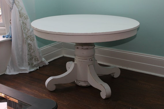 Custom Order Antique Dining Table White Distressed Shabby Chic