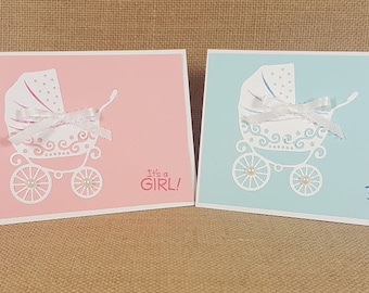 New Baby Card -  Happy For You Baby Card - It's A Boy - It's A Girl - Baby Carriage Card