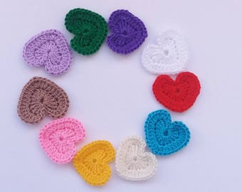 Crochet hearts decorations ornaments embellishments as gift Valentines heart as scrap booking and all your decoration needs applique