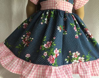 """NAVY/PINK FLORAL Dress Fits My American Girl and Other 18"""" Dolls"""