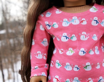 Fits like American Girl Doll Clothes - Pink Snowmen Long Sleeve Tee | 18 Inch Doll Clothes