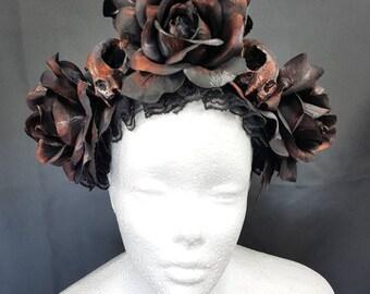 Ready to ship and unique / Pagan Roses & cat skull headpiece in copper black / Rosen und Katzenschädel headpiece in kupfer schwarz