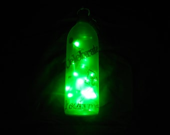 Bright Green Wine Bottle Lamp