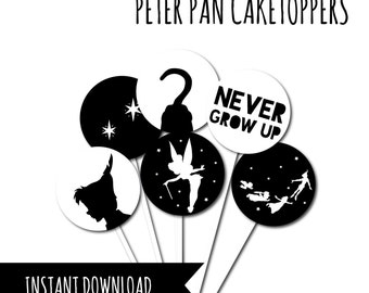 Peter Pan Cake Toppers, Neverland Party, Peter Pan Party, Printable Peter Pan, Fairytale Party, Neverland Cupcake Topper, Peter Pan Cupcakes