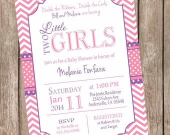 Twin Girls Baby Shower Invitation, Pink and Purple, Chevron Baby Shower Invitation, printable invitation