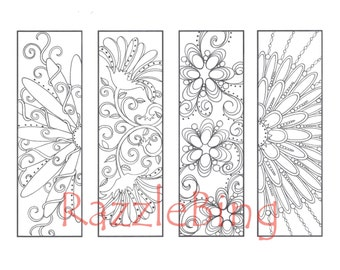"DIY Bookmark Printable Coloring Page-Zentangle inspired ""Curly Swirly Flowers""-Zendoodle Doodle-PDF Instant Download"