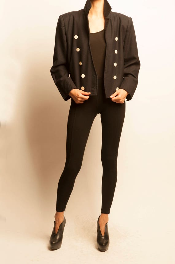 Yves Saint Laurent 1980's dark navy wool short jacket