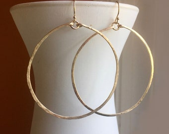 """Hammered Handmade Hoop Earrings in 14K Gold Filled, Size 50mm, 2"""", style Deborah, 14k Rose Gold Filled, Sterling Silver, choices"""