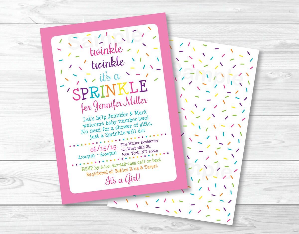 Pink Baby Sprinkle Invitation / Twinkle Twinkle Sprinkle /