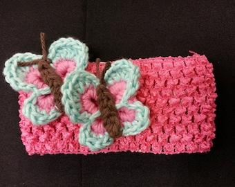 Crochet Butterfly Embellished Elastic Headband