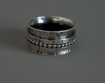 Sterling spinner ring / fidget spinner / meditation ring / anxiety ring / silver spinner ring / recovery ring / thumb ring / size 10 / gift